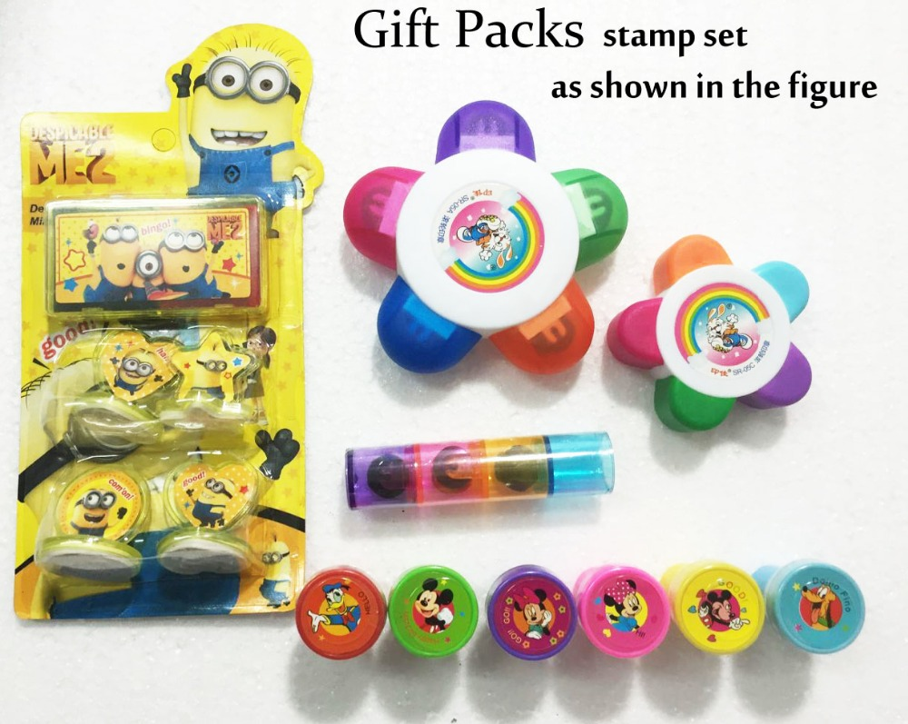 5 style/packs Gift Packs,Mickey&Minnie stamp set for baby kids Minions toys stamp, Minions stamp set for children Toy present(China (Mainland))