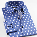 2017 New Spring Men s Big Polka Dot Pattern Dress Shirt Comfort Soft Slim fit Long