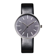 New Classic uniform wares Style Watches Leather Bands Round Case Grey Face Quartz Movement