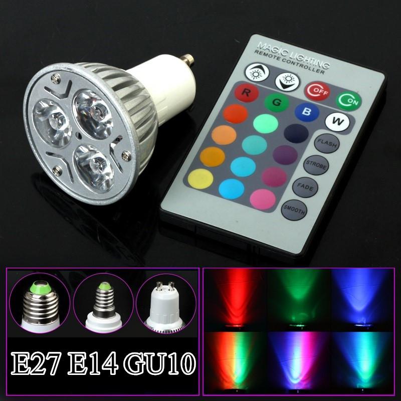 E27 GU10 E14 RGB Led Bulb Lamp AC110V 220V 230V LED Spot light Party Decoration RGB Lighting IR Remote Control 16 Color(China (Mainland))