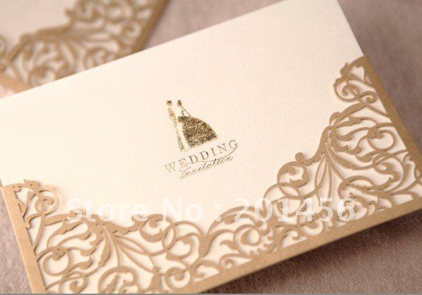 Wedding Invitation Card Bride Dress Wedding Cards CW1016 Include Envelope And Customised
