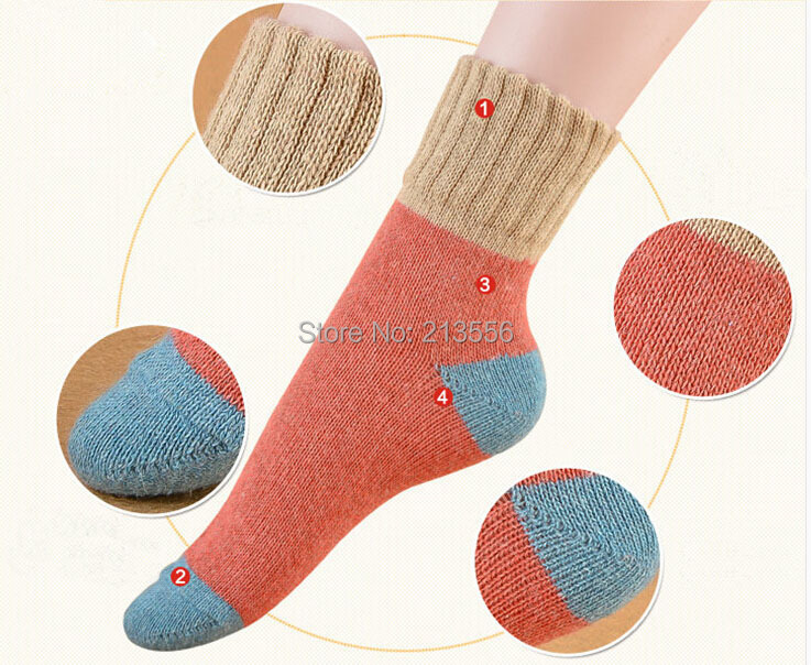 Brand Autumn and winter thick socks thick line high cuffs spell color socks rabbit wool socks short socks warm(China (Mainland))