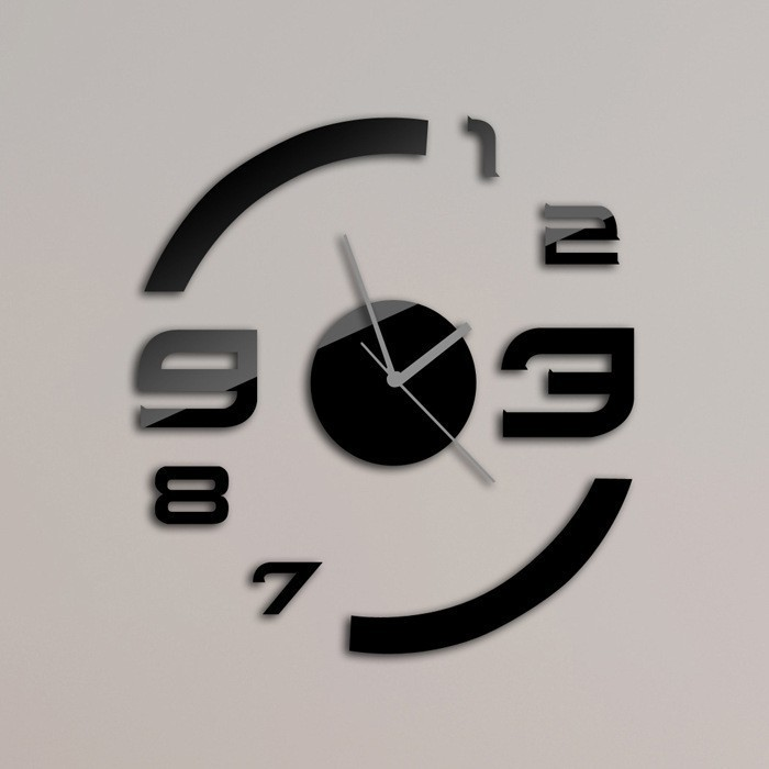 Creative Gift! Numbers Black Clock Art Mordern Luxury DIY 3D Crystal Mirror Wall Clock Wall Sticker Living Room Bedroom Decor(China (Mainland))