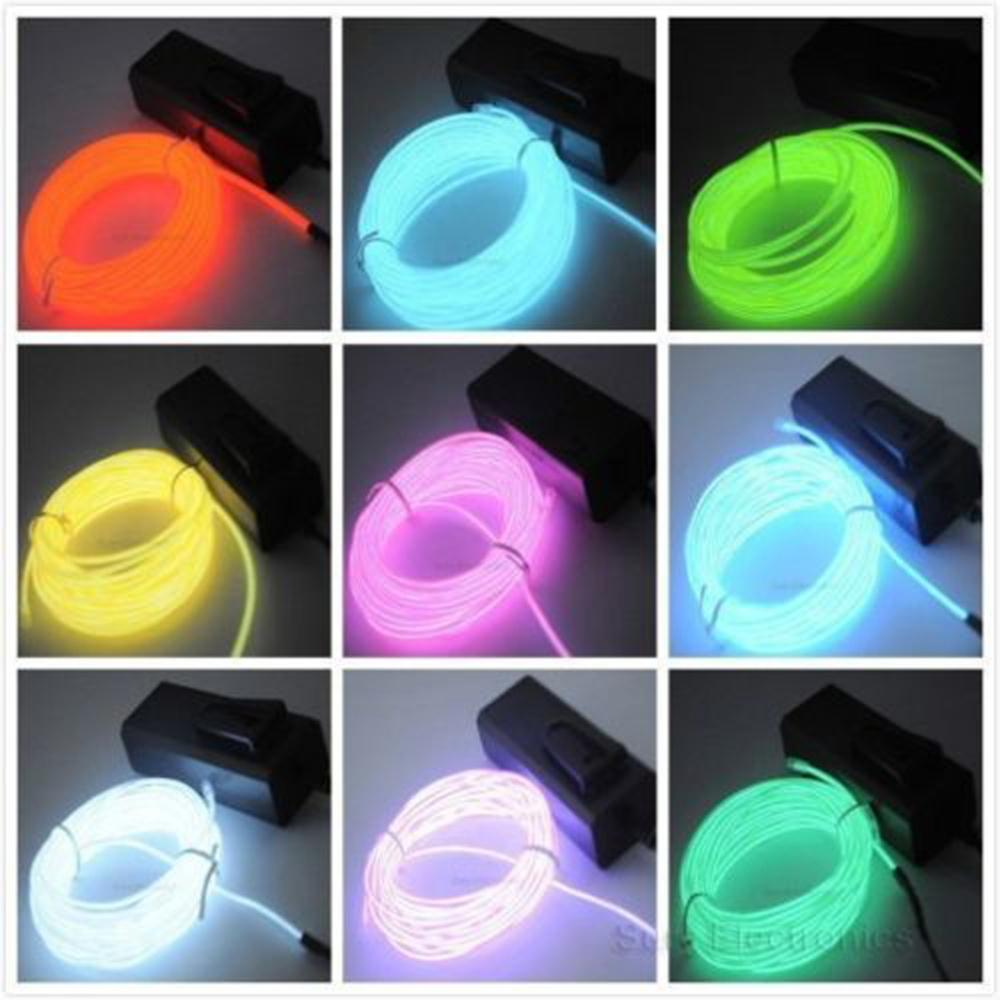 1pcs Flexible EL Wire Neon Light 3M for Dance Party Car Decor+Controller wire dance light(China (Mainland))