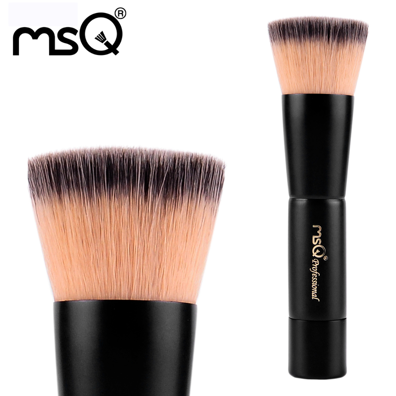 MSQ Professional Beauty Tool Single Flat Top Powder Brush Double-Color Synthetic Hair Black Natural Wood Handle With PVC Bag(China (Mainland))