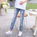 Fashion Summer Maternity Jeans Pregnancy Clothes Loose Denim Pants for Pregnant Women High Waist Ripped Jeans