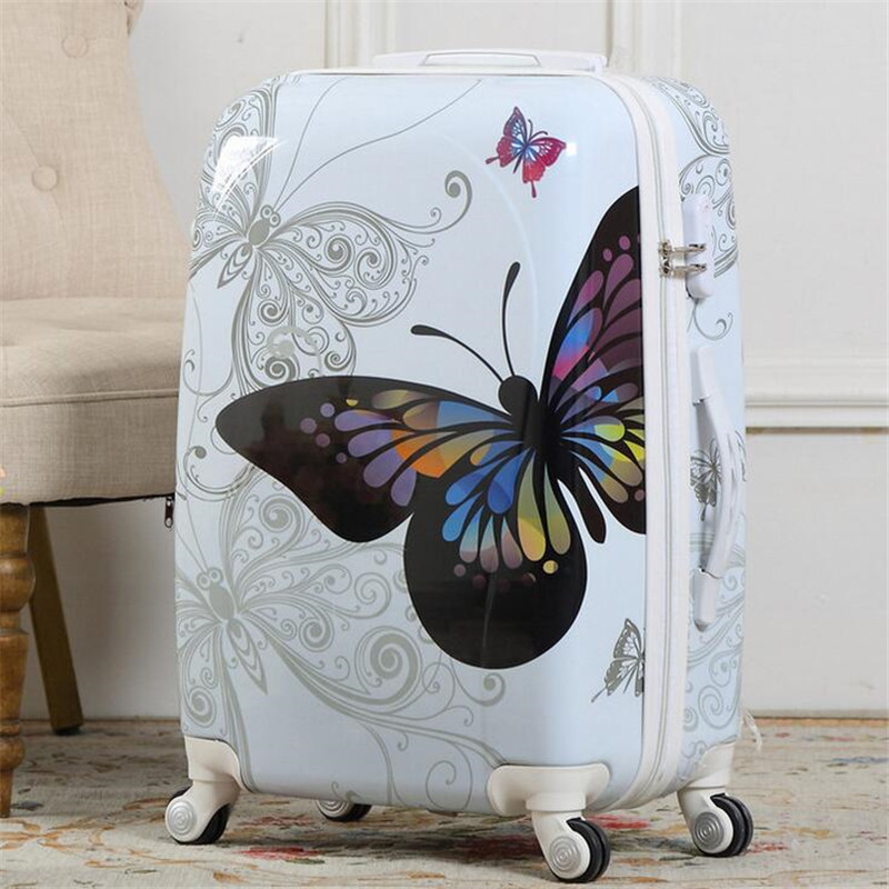 2016 New Hot Sales Women Butterfly ABS Trolley Suitcase High Quality Luggage Sets 20 24Inch A Set hot free shipping(China (Mainland))