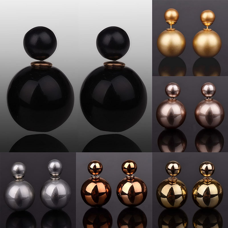 2015 New Design Women Accessories Jewelry Double Pearl Ball Earrings For Women Multi Colors Big Acrylic