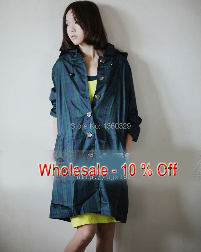 Classic England Green Plaid Womens Long Raincoats font b burberry b font men Trench Waterproof Girl