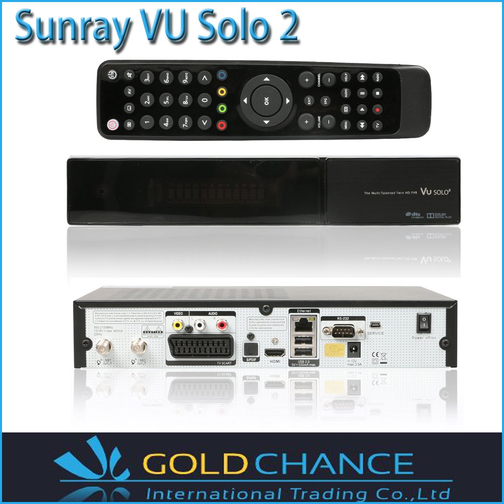 Sunray Vu Solo2 Twin Tuner Linux System 1300 MHz CPU 2 Dvb-s2 Duner Vu Solo 2 TV Receiver Free Shipping(China (Mainland))