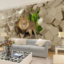 Custom wall papier mural papel de parede 3d lion from stonewall photo wallpaper murals for living room tv sofa background decal(China (Mainland))