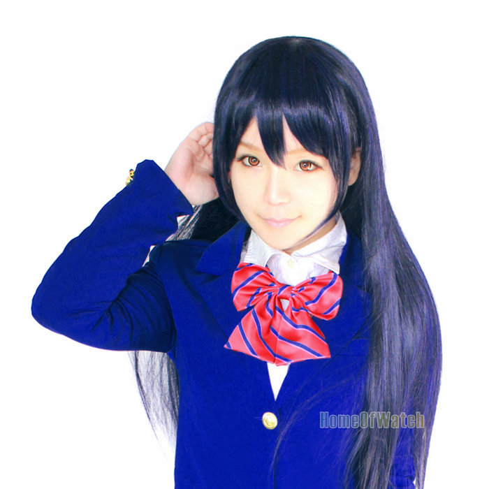 New arrival! LoveLive Sonoda Umi 80cm Dark Blue + Black Long Straight Cosplay wig for free shipping (NWG0CP60844-LB2)(China (Mainland))