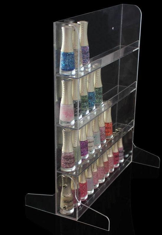 4layer-55 bottle-wall mounted/standing transparent acrylic nail polish holder jewelry shop store shelves display 4 layers - Ya Han products