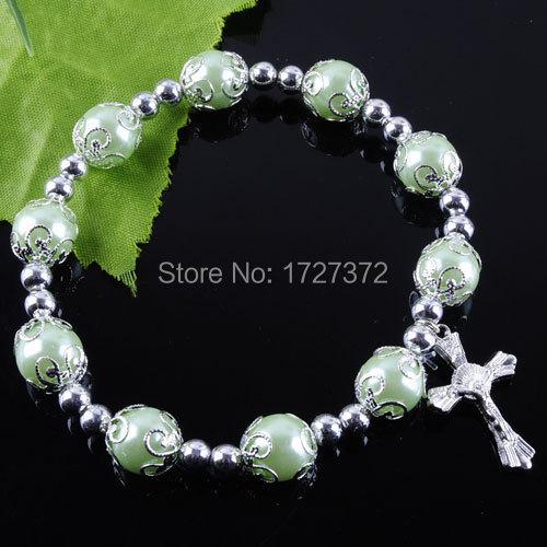 "Free shipping NEW Fashion Jewelry Green Pear Round Cross Beads Stretch Bracelet 7 1/4 "" Charm ZK1809(China (Mainland))"