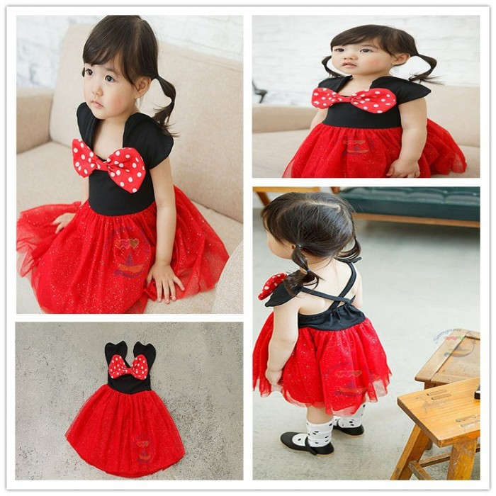 EMS DHL Free shipping little girls Princess Dress summer 2015 Black Red Minnie Dress Summer Style Tulle Dress Party dresses(China (Mainland))