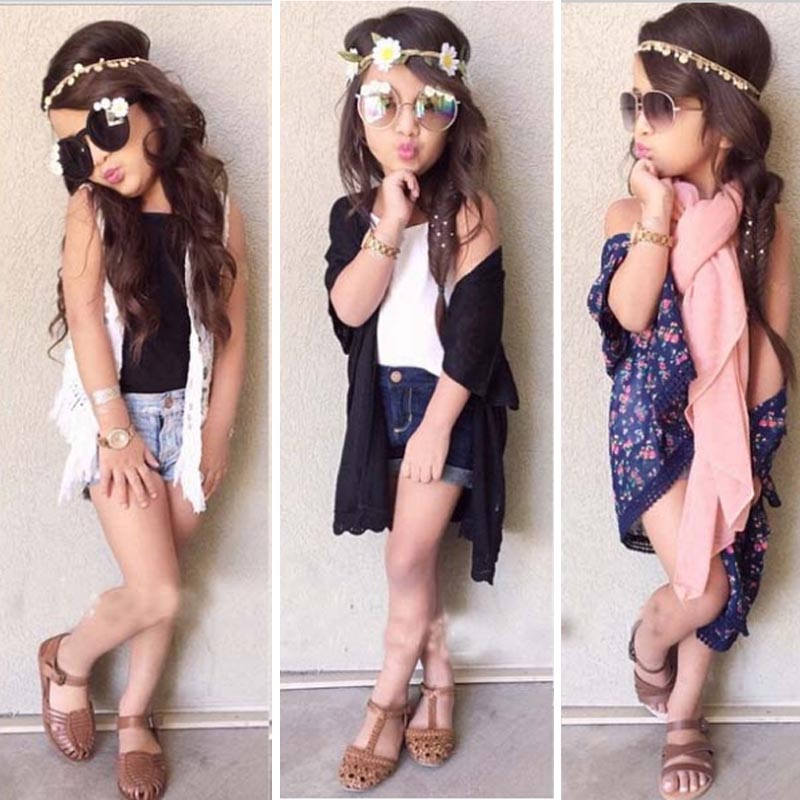 2018 2015 New Fashion Girl 39 S Clothing Sets Carding Vest Shorts Sets Suit Kids Boutique Lace