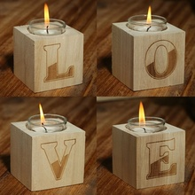 Buy Wooden LOVE Tea Light Candle Holder Set Votive Candle Holders Rustic Wedding Party Table Decoration Centerpieces for $11.03 in AliExpress store