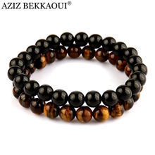 AZIZ Yoga Jewelry Men's Beaded Bracelet Black Onyx Black Lave Stone Tiger Eye Semi Precious stone Jewerly Pulseira Masculina(China (Mainland))