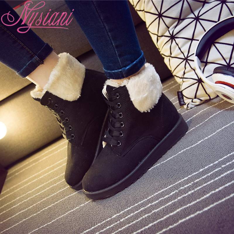 2015 New Warm Winter Shoes British Style Thick Heels Wedge Ankle Boots Round Toe Platform Lace Up Martin Boots Fashion Lady Shoe(China (Mainland))