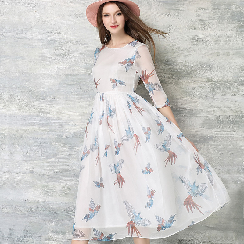2016 European Print Jean Sundress Long Chiffon Jean Sundress Online Shop Clothing Woman Dress Summer Free Shipping Canada(China (Mainland))