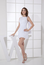 2015 New Hot Selling Free Shipping Sexy Vestido Perola Curto Mini Ribbons Robe Zipper Back Lady Chiffon Cocktail Dresses 8084