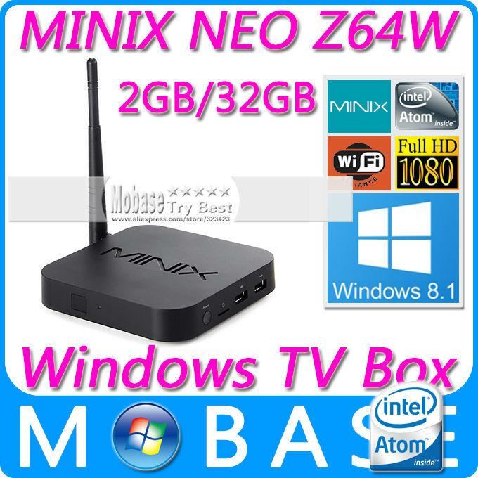 MINIX NEO Z64 Series Z64W Windows 8.1 with Bing TV Box Intel Atom Z3735F 64bit Quad Core CPU 2G/32G XBMC 1080P Smart TV Receiver(China (Mainland))