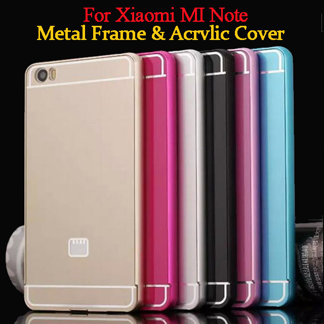 New Xiaomi Mi Note Phone Case 5.7 inch Ultrathin Metal Frame Bumper Acrylic Cover Cases For Xiaomi Mi Note Pro Shell Cases(China (Mainland))