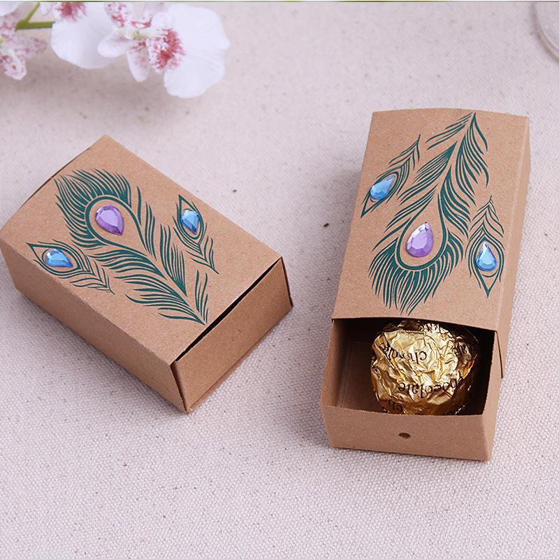 50pcs 7.6cm*5cm*3cm New Diamond peacock candy box wedding candy boxes wedding favor gift box(China (Mainland))