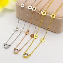 New Summer Single Stone Pendant Women Necklace With Four Love Circles Chain Necklace Lover's Gift Love Your Grace Jewelry Bijoux(China (Mainland))