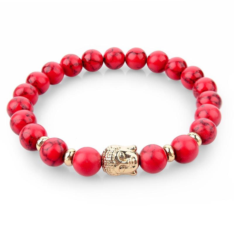Natural Stone bead Buddha Bracelets For Women and Men Gold Charm Buddha Turquoise Black bracelet pulseras