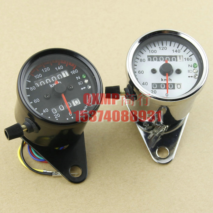 Vintage chrome Black LED CAFE RACER Universal 0 - 160 KM/H Motorcycle Speedometer Odometer Gauge Miles Speed meter Free Shipping(China (Mainland))