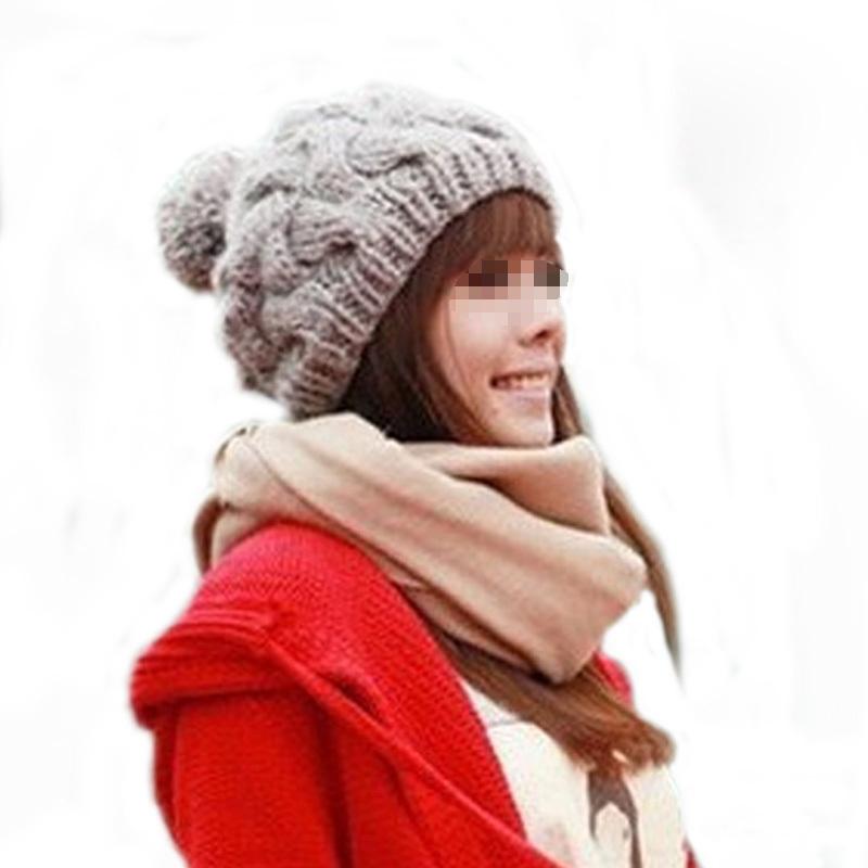 Feminino Twist Pattern Women Caps Winter Hat Knitted Sweater Fashion Skullies Hats For Women New Design Beanies Caps(China (Mainland))