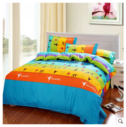 Striped yellow orange blue green dancing in the rainbow cotton comforter sets king queen full - Blue and orange bedding sets ...