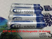 Высокая Quanlity AAA аккумулятор 1000 мАч 4 х BTY ni mh 1.2 В аккумуляторная 3а аккумулятор Baterias Bateria батарей микроданных