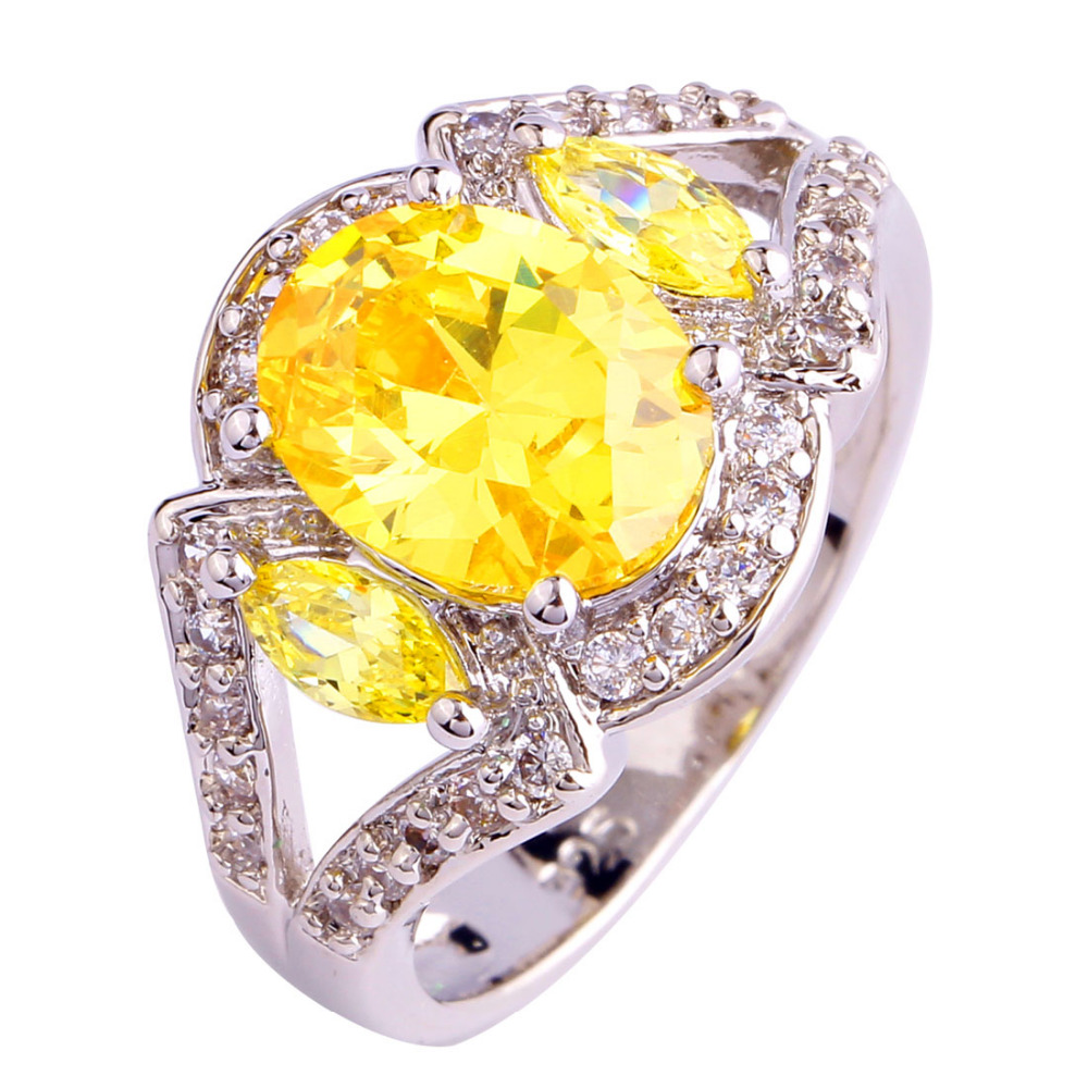 lingmei Attractable Women Rings Sparkling Oval Cut Citrine 925 Silver Ring Size 7 8 9 10 Fashion Jewelry Wholesale Free Ship(China (Mainland))
