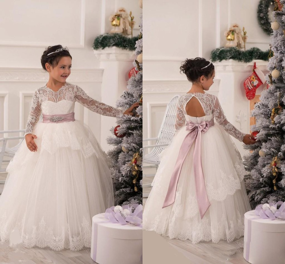 2015 Christmas Lace Flower Girl Dresses Long Sleeve Hollow