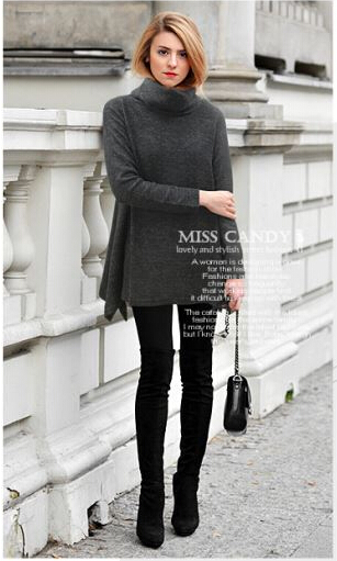 5XL blusas femininas plus size women clothing autumn fall elegant solid gray warm turtleneck Office casual long tee shirt JF121(China (Mainland))