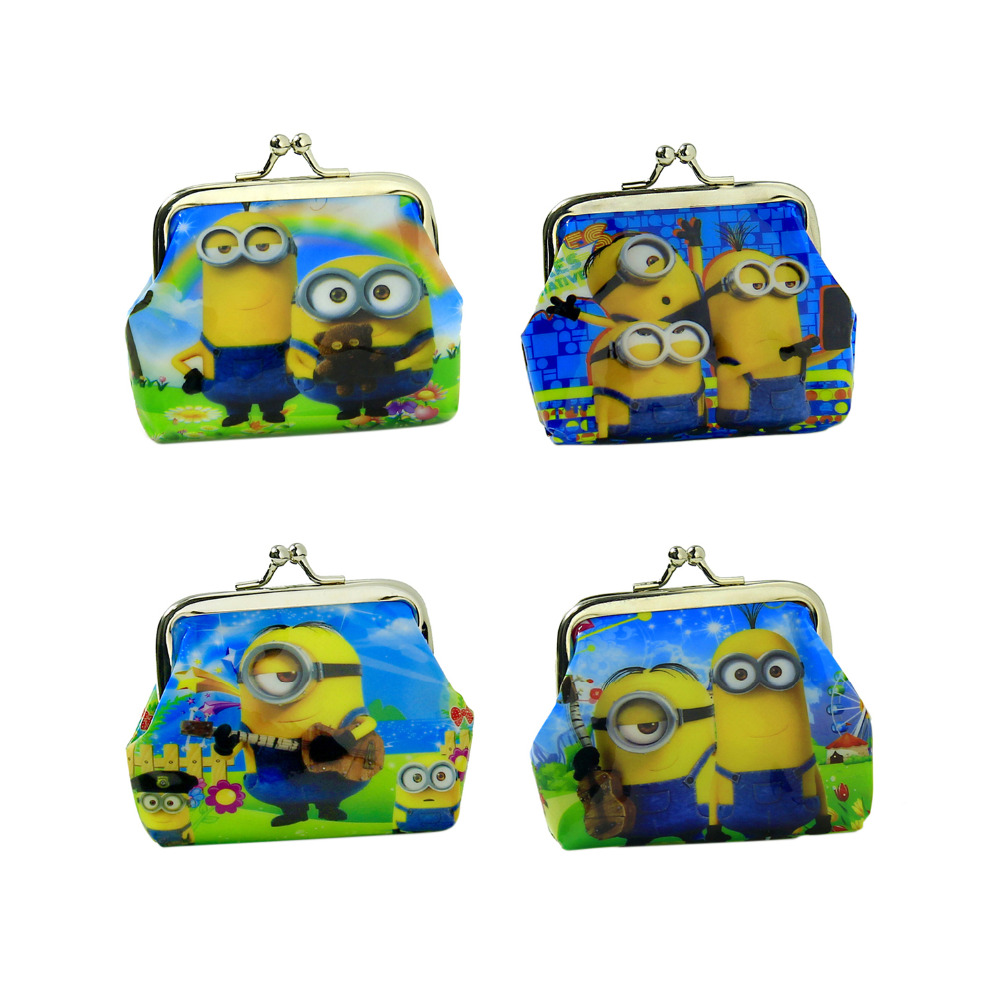 1 Piece Coin Purses Minion Square Hasp PVC Coin Purse Girls Minions Wallet Children Despicable Me 2 Party Supplies(China (Mainland))
