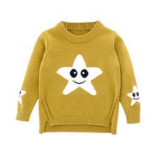 어린이 의류 남성 아기 면화 따뜻한 플러스 벨벳 플러시 속옷 여자 겨울 라운드 목 니트 느슨한 스웨터 세트(China)