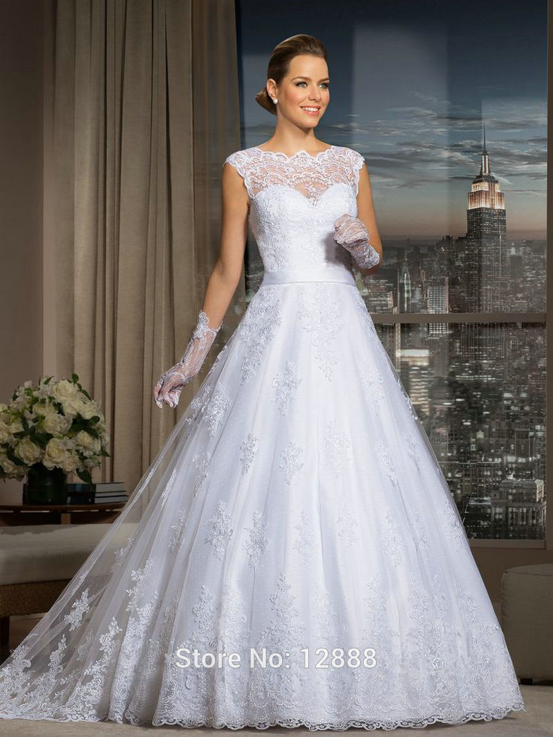 Vestido boda vestidos de noiva casamento cap sleeve ball for Wedding dress with long gloves