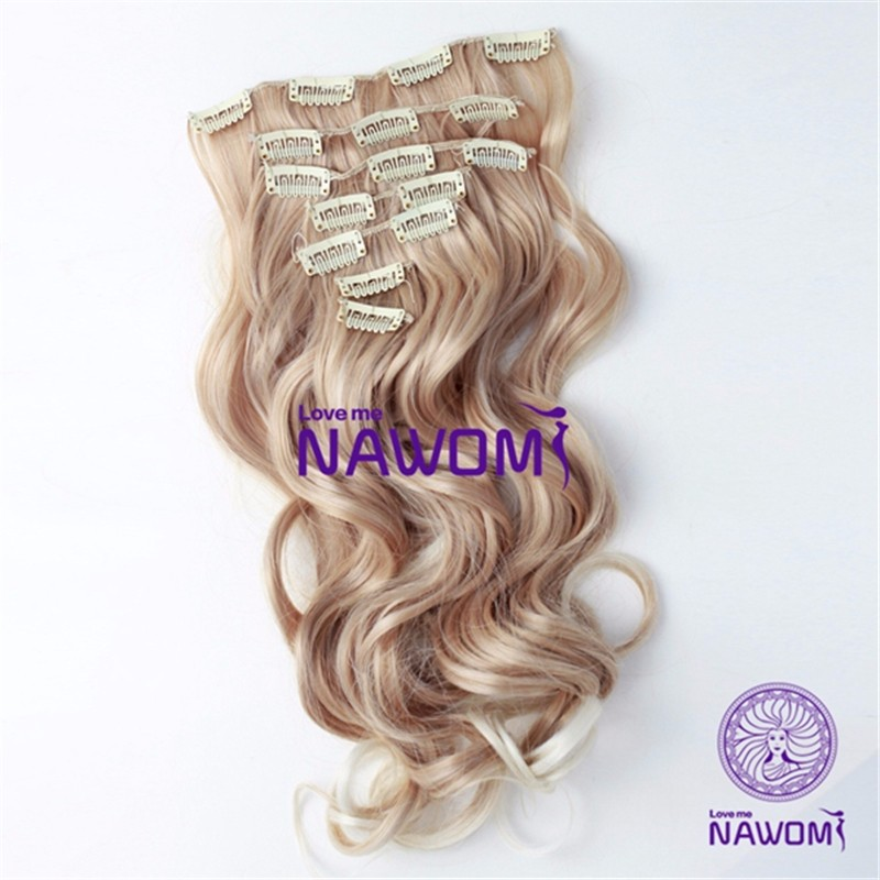 "Blonde Color 180g 22"" 7Pcs/Set Long Natural Wavy Synthetic Clip In Hair Extensions Heat Resistant Girls Hairpiece For Full Head(China (Mainland))"