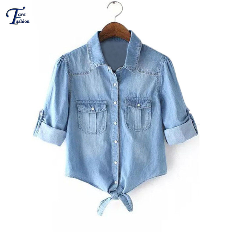 European Style High Street Women Tops 2015 New Fashion Summer Blue Long Sleeve Lapel Knotted Pockets Slim Denim Crop Blouse(China (Mainland))