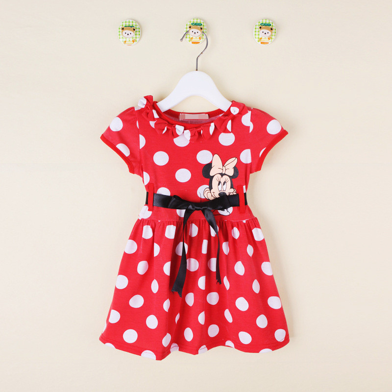 2015 New short-sleeved dress pattern dot Minnie Bow Casual adorable girl's dress kids baby girls Polka Dot Dress 1 ~ 4T(China (Mainland))