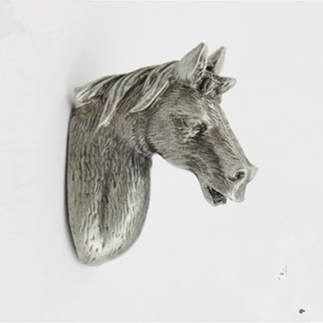 Antique Silver Cartoon Horse Head Cabinet Pulls Terne Metal Closet Knobs Kids Bedroom Animal Handle Drawer Pull Dresser Knobs