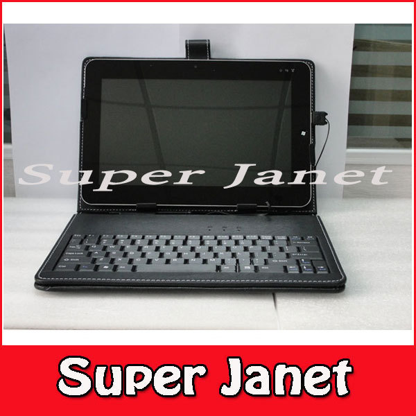 """2 Pc/lot 9.7"""" Inch PU Leather Keyboard Standing Case for Tabletpc Epad Apad MID Laptop Usb2.0 W/ Stylus Black Color(China (Mainland))"""