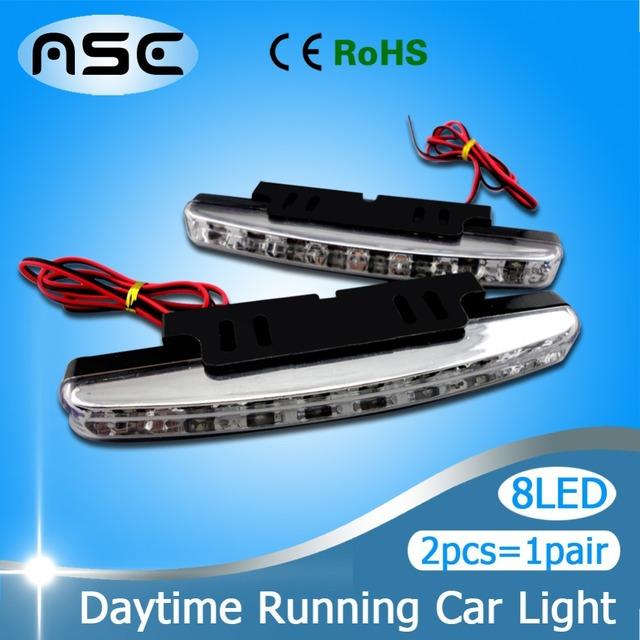 Discount 2pcs/1pair Super White 8LEDs Universal Car Light LED Daytime Running Head DRL Light Free shipping