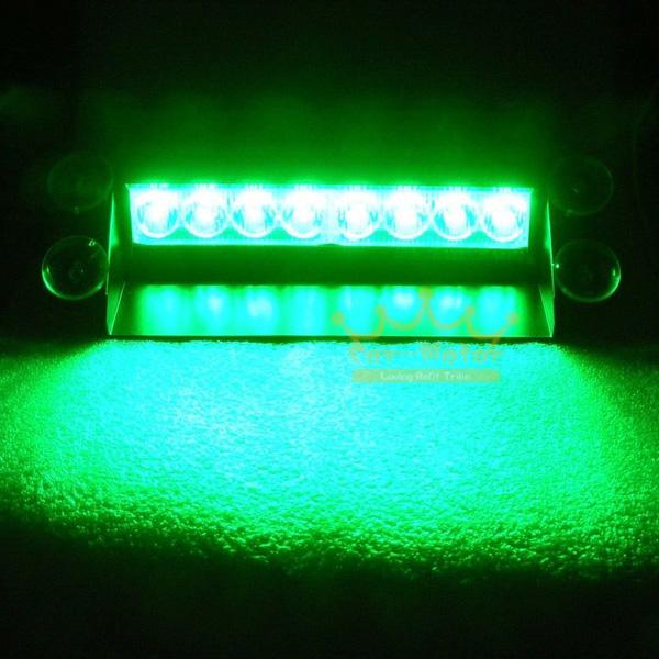 Green 8 LED Car Auto Truck 3 Modes Cigarette Lighter Dash Strobe Warning Flash Emergency Light (0181)(China (Mainland))