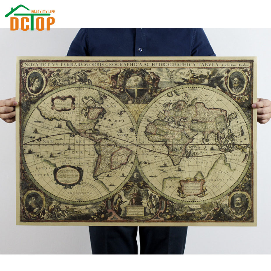 DCTOP 1641-Year-Old Navigational Charts Nostalgic Painting Core Kraft Paper Murals Retro Poster Decorative Wall Stickers(China (Mainland))