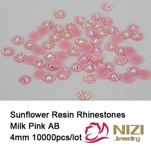 4mm Rodada Strass Flatback Pedras de Resina Geléia Rosa AB DIY Unhas 3D Arte Decoração Glitter Beads Para Fazer Jóias(China (Mainland))