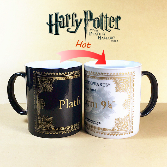 Limited Edition Harry Potter Mug Color Changing Cup Platform 9 and 3/4 Magic Coffee Copo Sensitive Ceramic Tea La Copa(China (Mainland))